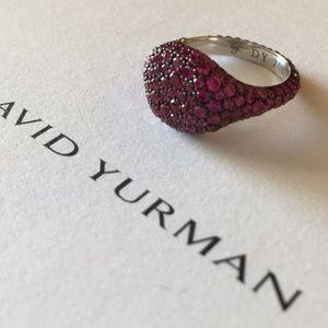 David Yurman 18K Wht Gold Ruby Pinky Ring